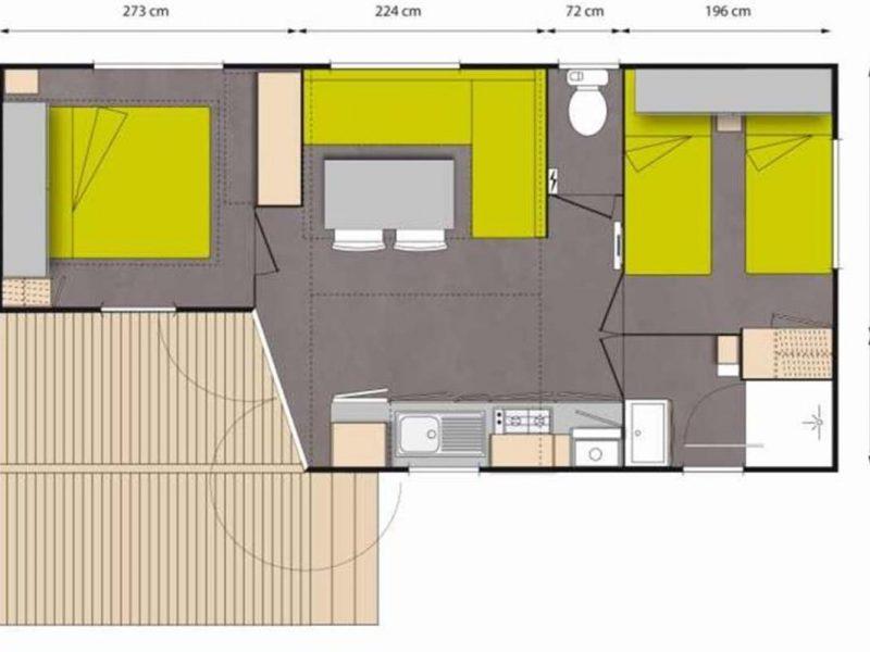 Camping-Club Mahana: Tahia Mobile Home floorplan