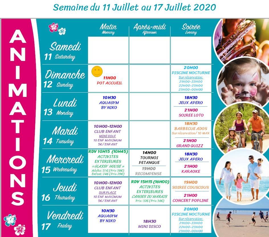 Camping Club Mahana : Planing Animation 11 17 Juillet 2020