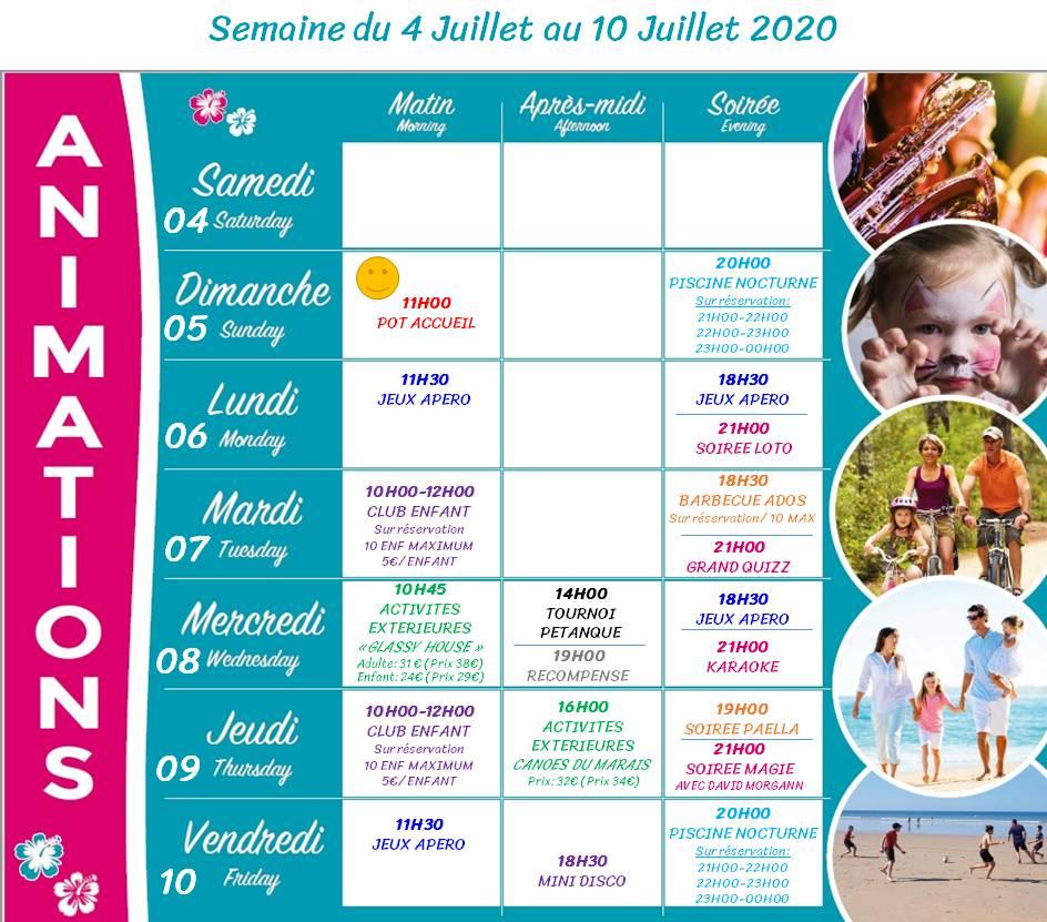 Camping Club Mahana : Planing Animation 4 10 Juillet 2020