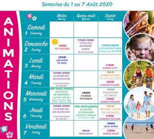 Camping Club Mahana : Planing Animation 1 7 Aout 2020