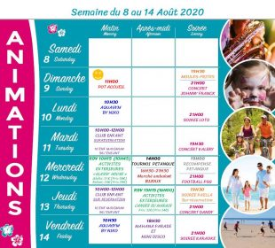 Camping Club Mahana : Planing Animation 8 14 Aout 2020